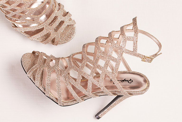 Sparkling Gold Cage High Heel Shoes
