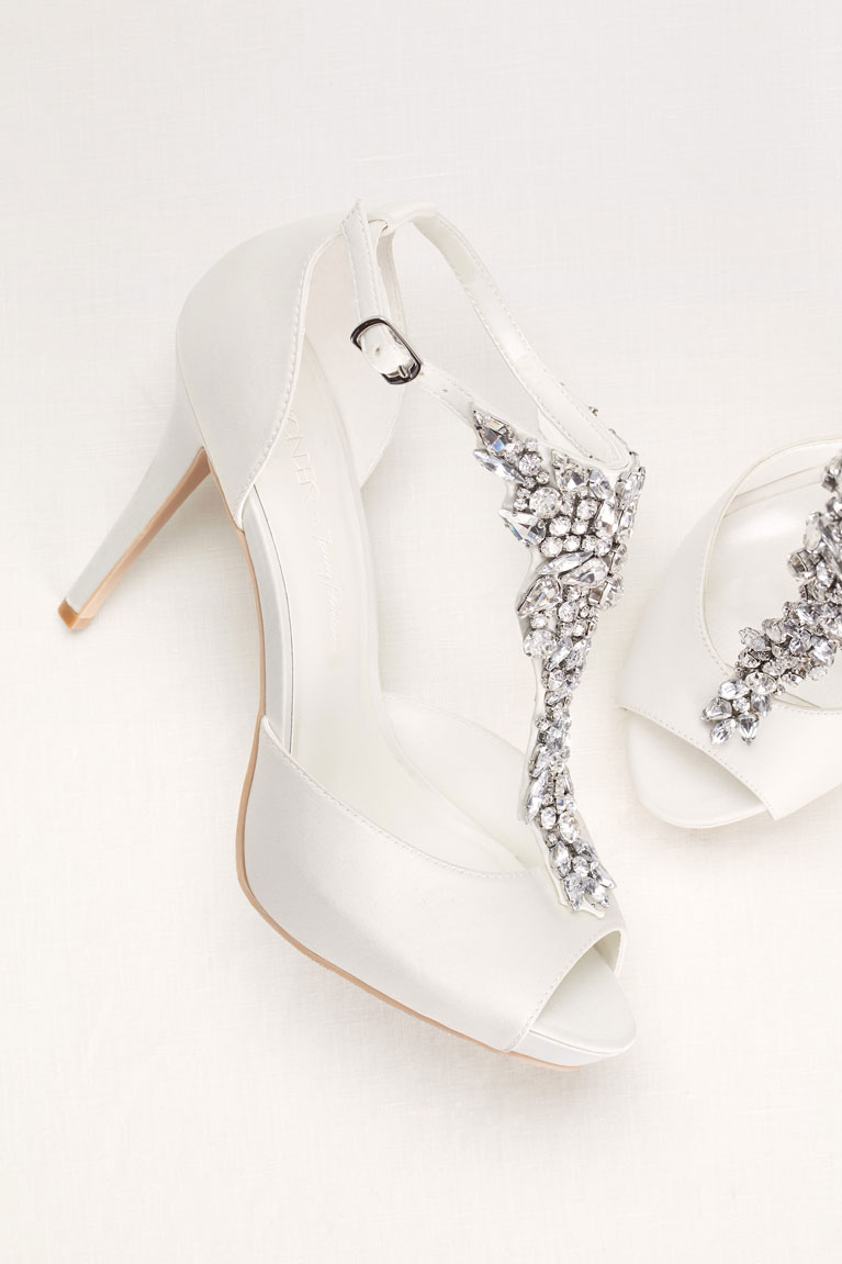 Embellished White Peep Toe Wedding Shoes