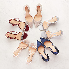 Five pairs of evening shoes, embelished, strappy, and metallic