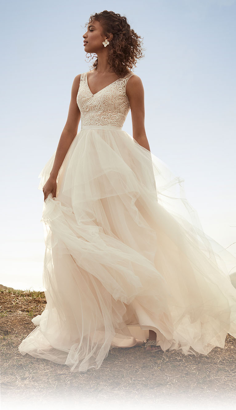 bride wearing a v-neck embroidered tulle dress standing on a picturesque hill