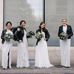Grey bridal party with leather jackets