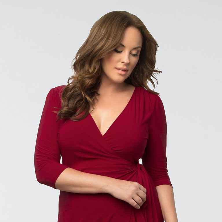 Plus size red wine color dress with 3/4 sleeves by Kiyonna
