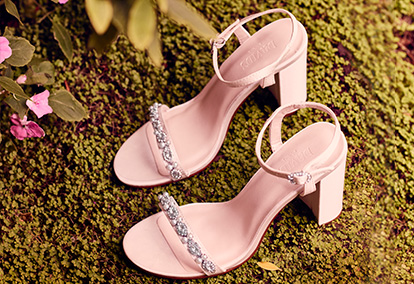 Strappy shoes with embellishment and block heel in grass