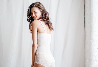 Bride wearing Spanx bridal shapewear