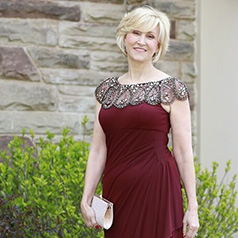 Wine mother of the bride dress with embellished neckline