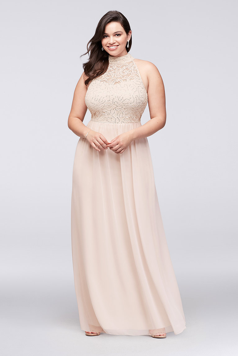 Plus size Prom girl in halter prom dress
