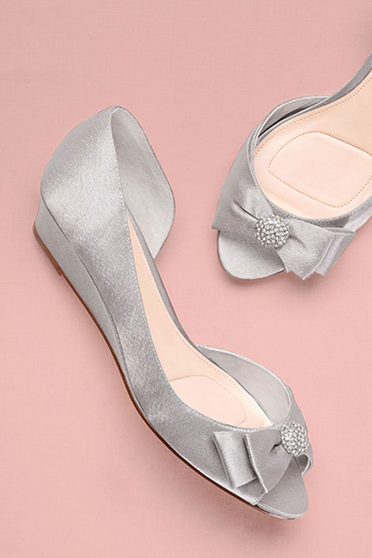 Pair of silver metallic open-toed wedges