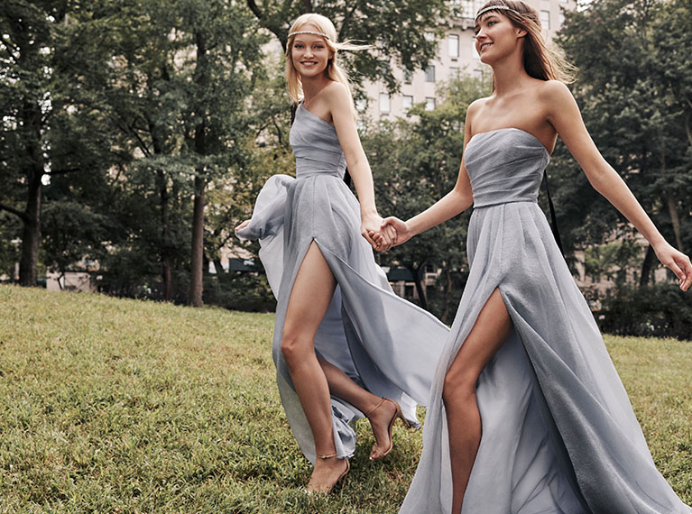 Bridesmaids in mis matched White by Vera Wang dresses