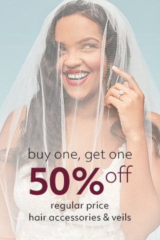 BOGO 50% off hair accessories & veils
