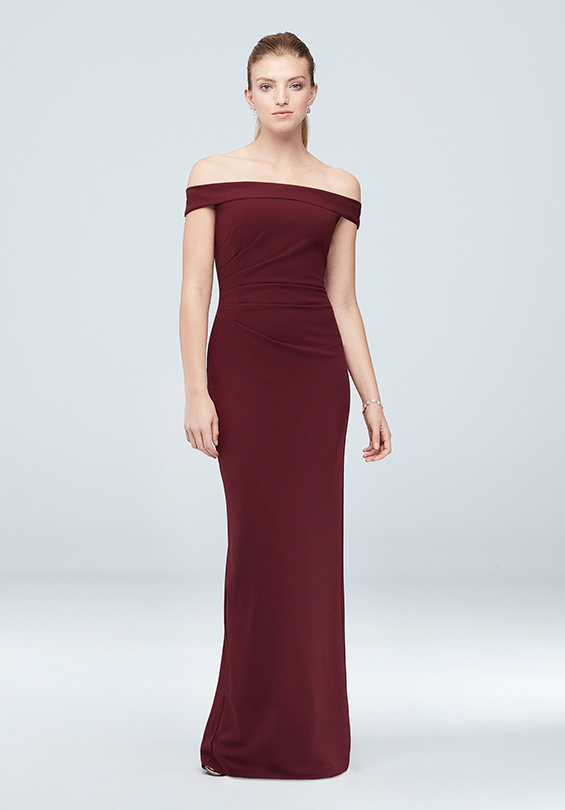 DB Studio Off-the-Shoulder Stretch Crepe Ruched Dress in Wine