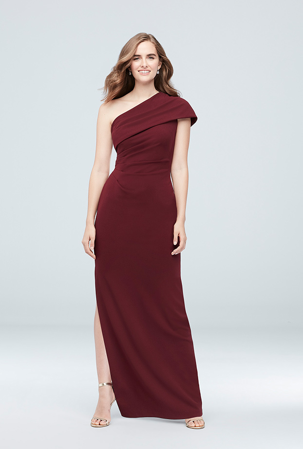64f7dc2e65c2 DB Studio Ruched One-Shoulder Stretch Crepe Dress in Wine