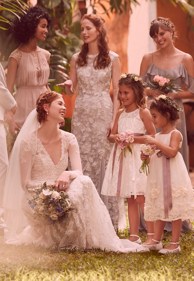 Bridal Party with Flower Girls in Vintage Attire