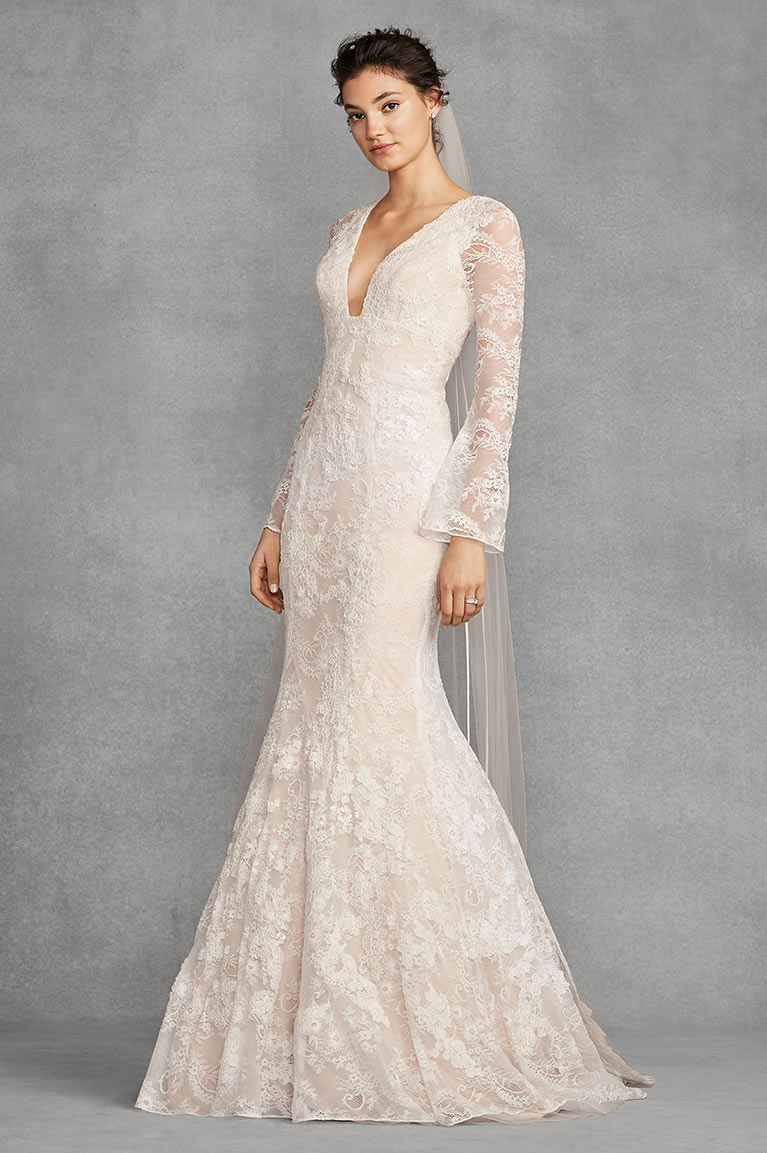 White by Vera Wang Bell Sleeve Lace Wedding Dress