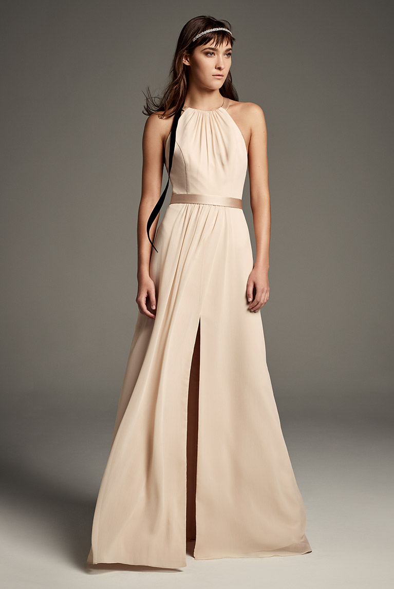 b9b84f5ea20 ... High neck White by Vera Wang chiffon bridesmaid dress with satin accent  and slit in long