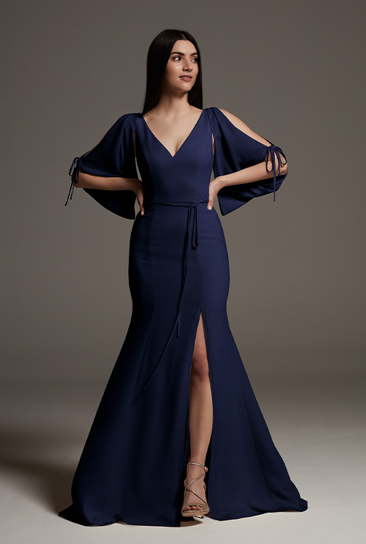 bridesmaid wearing long navy white by vera wang bridesmaid dress