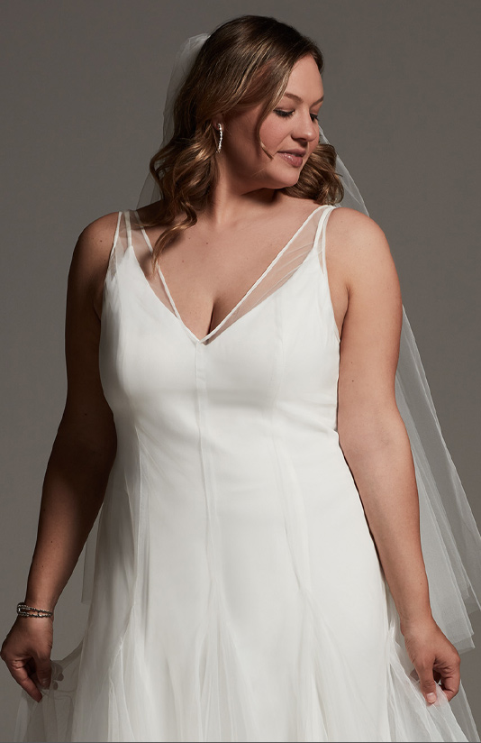 Plus size White by Vera Wang long bridesmaid dress with sheer one-shoulder strap