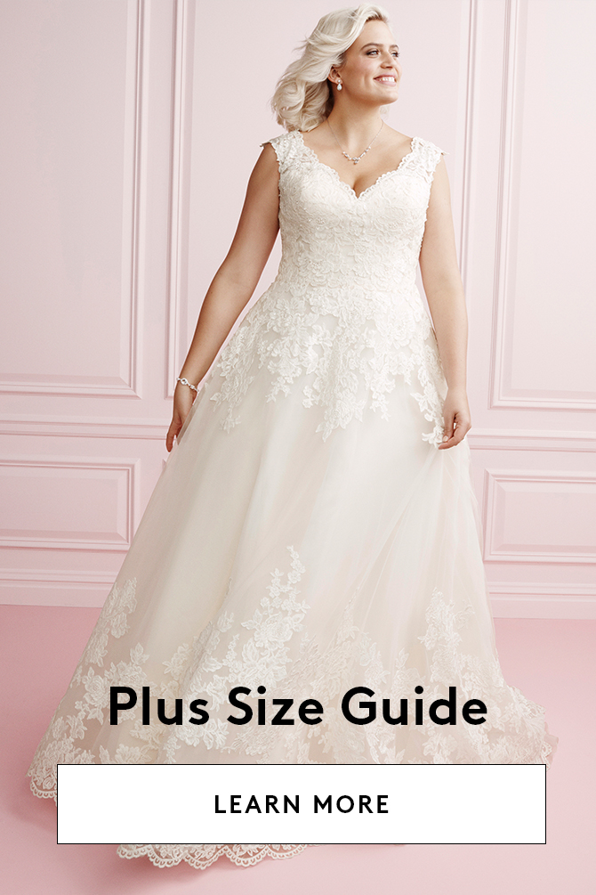 1e8e298c6b2 Oleg Cassini. Lace Plus Size Wedding Dress with Pleated Skirt