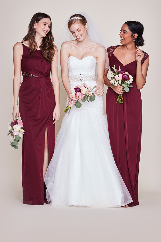 55b52147d1 Shades of Wine. Soft   Flowy David s Bridal Long Bridesmaid Dress
