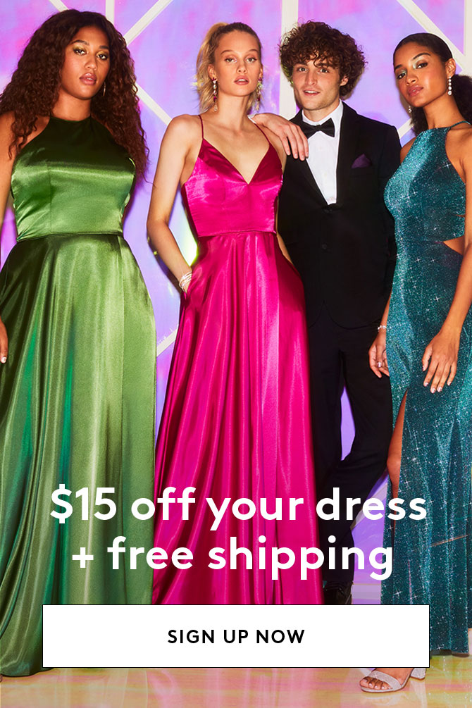 $15 off your dress + free shipping - Sign Up Now