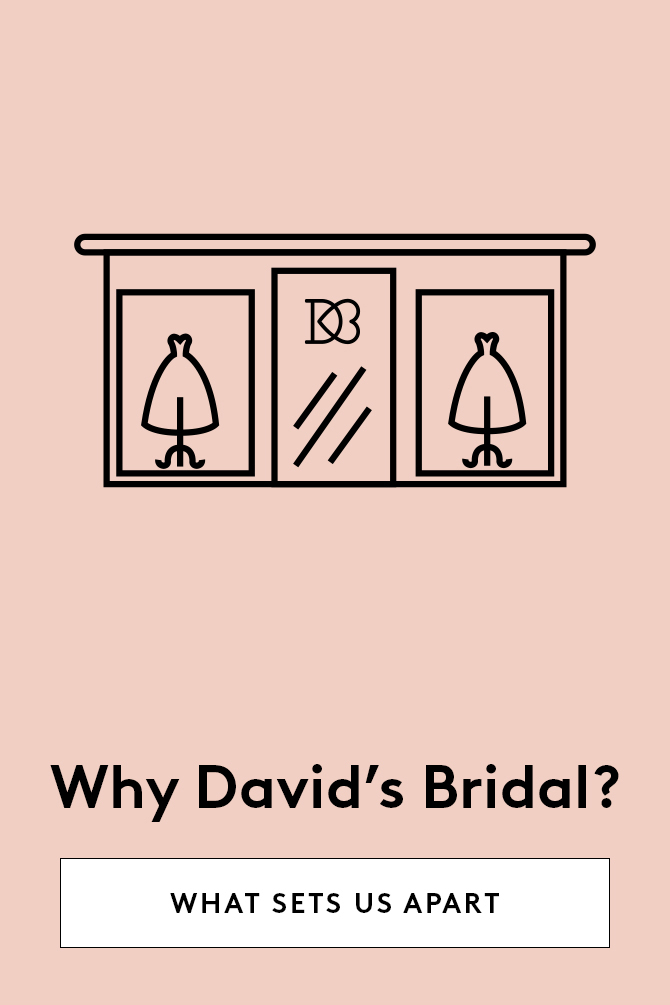Pink banner with copy linking to page about what sets David's Bridal apart