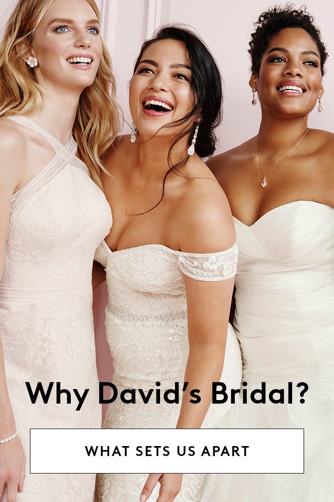 Three brides smiling together with a link to what sets David's Bridal apart