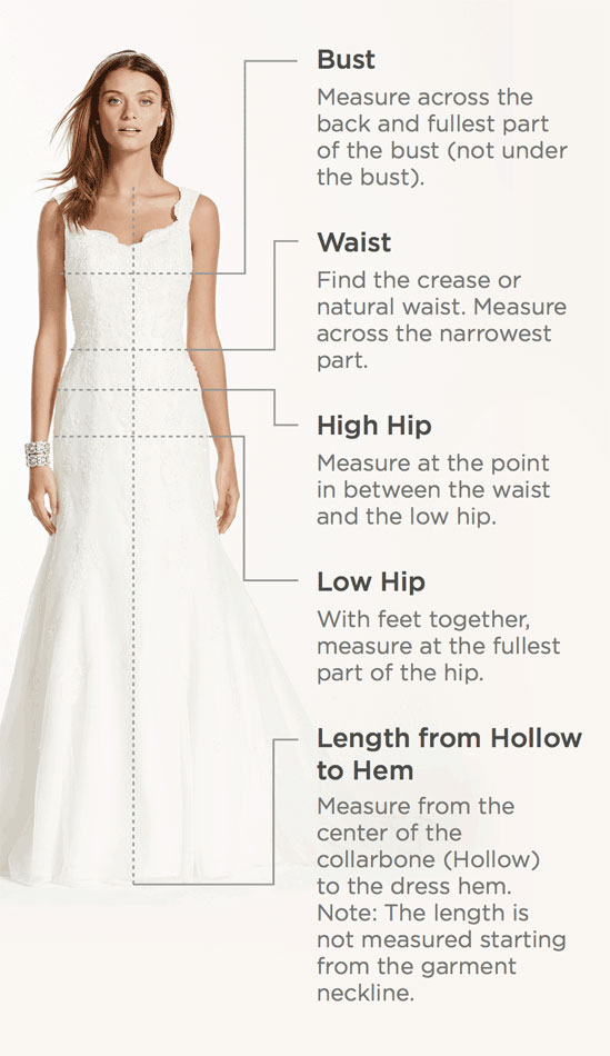 Measuring guide diagram with bride showing where to measure bust, waist, high hip, low hip and length