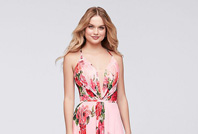 Prom girl wearing pink floral print dress