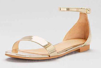 Gold sandals starting at $19.95
