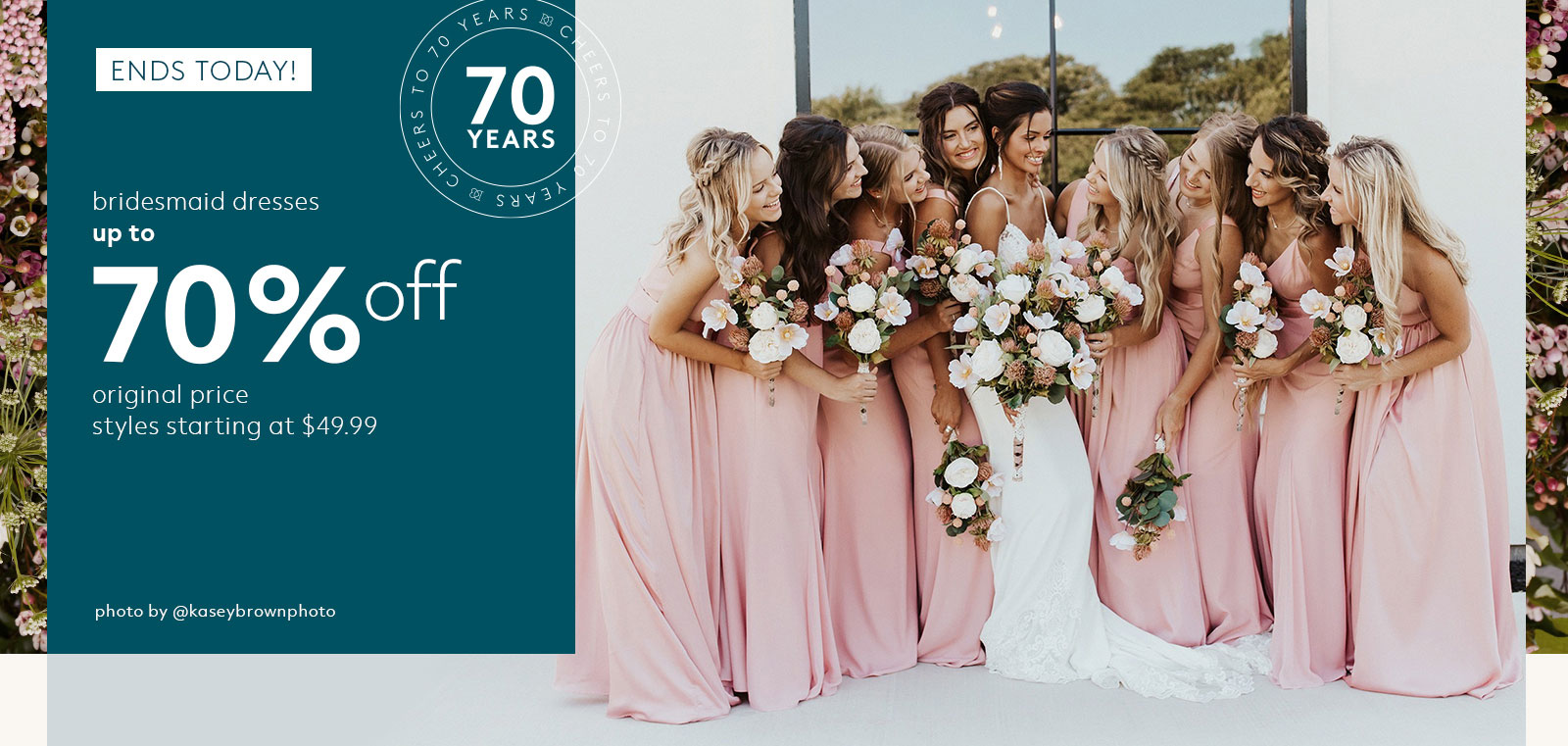 bridesmaid dresses up to 70% off original price