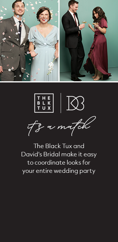 The Black Tux and David's Bridal make it easy to coordinate looks for your entire wedding party