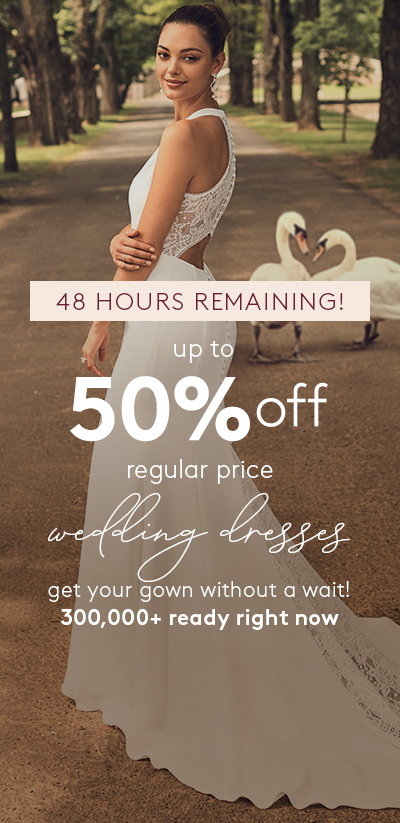 5 DAYS ONLY! up to 50% off regular price wedding dresses - thousands ready for quick ship or take home today!