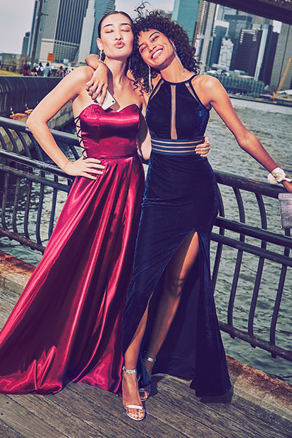 Prom girls by the water