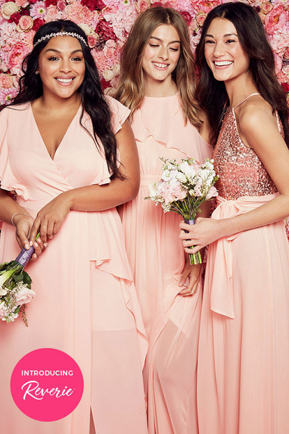 Three bridesmaids wearing pink