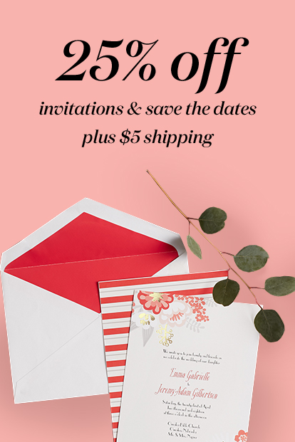 25% off invitations & save the dates
