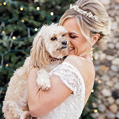 Real Brides hugging her dog
