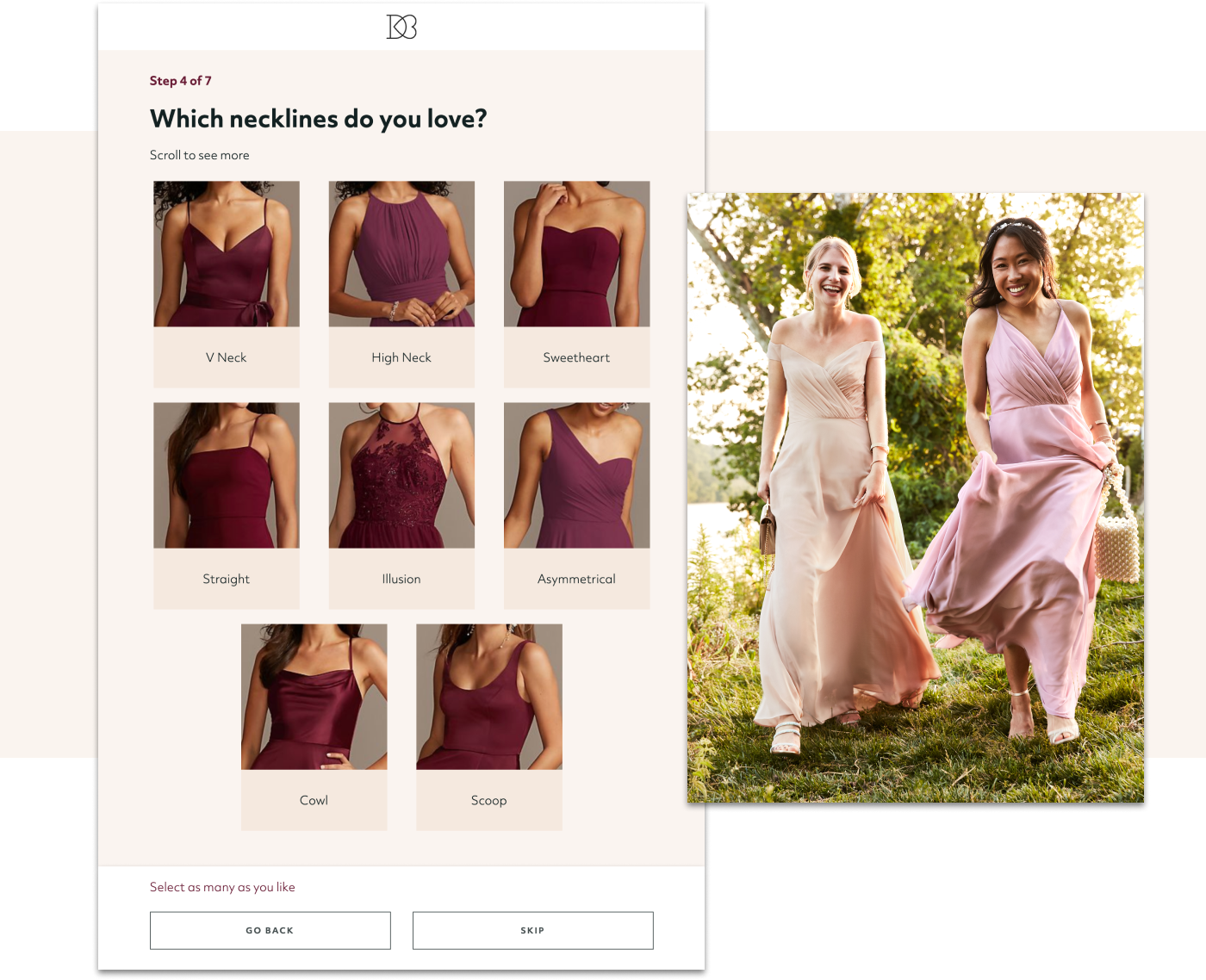 : bridesmaid style quiz results show a variety of bridesmaid dresses to choose from