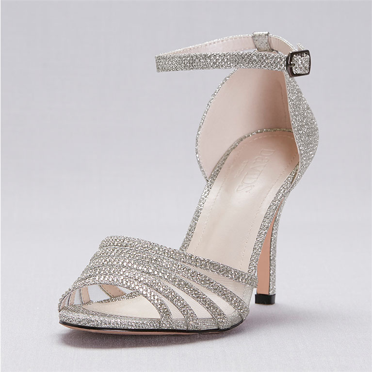 Silver strappy heels for military balls