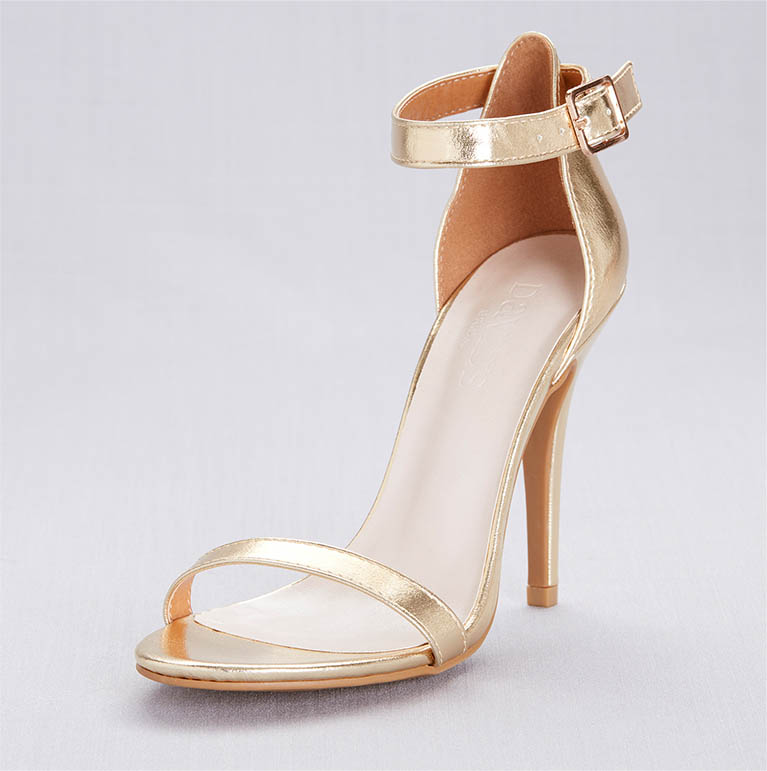 Strappy gold heels for prom