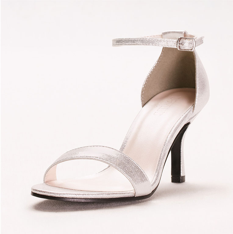 Strappy silver prom shoes