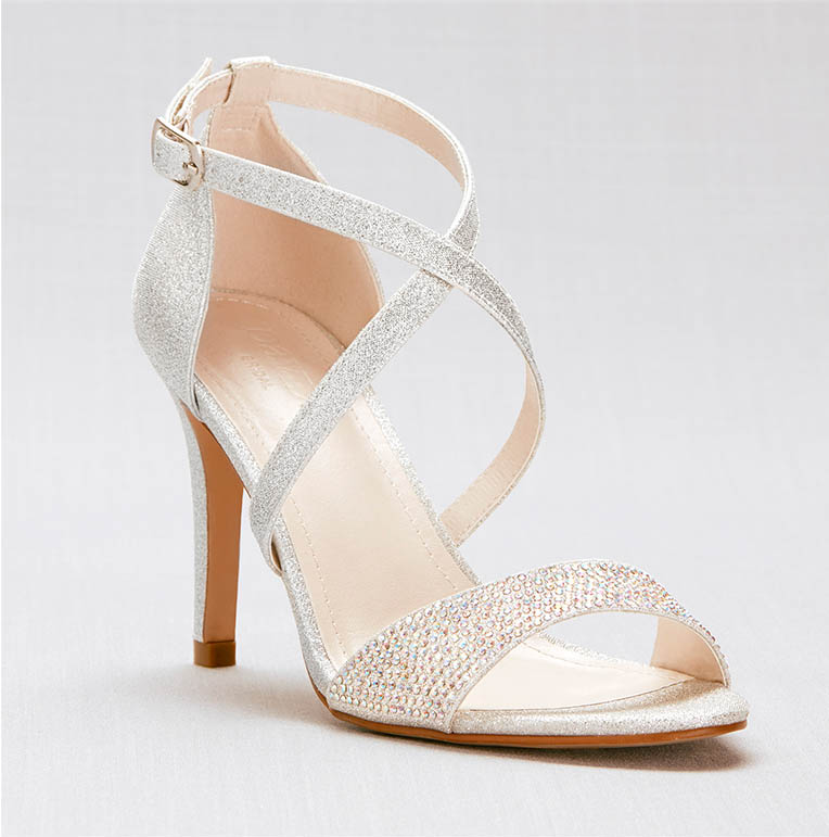 Strappy silver heels for prom
