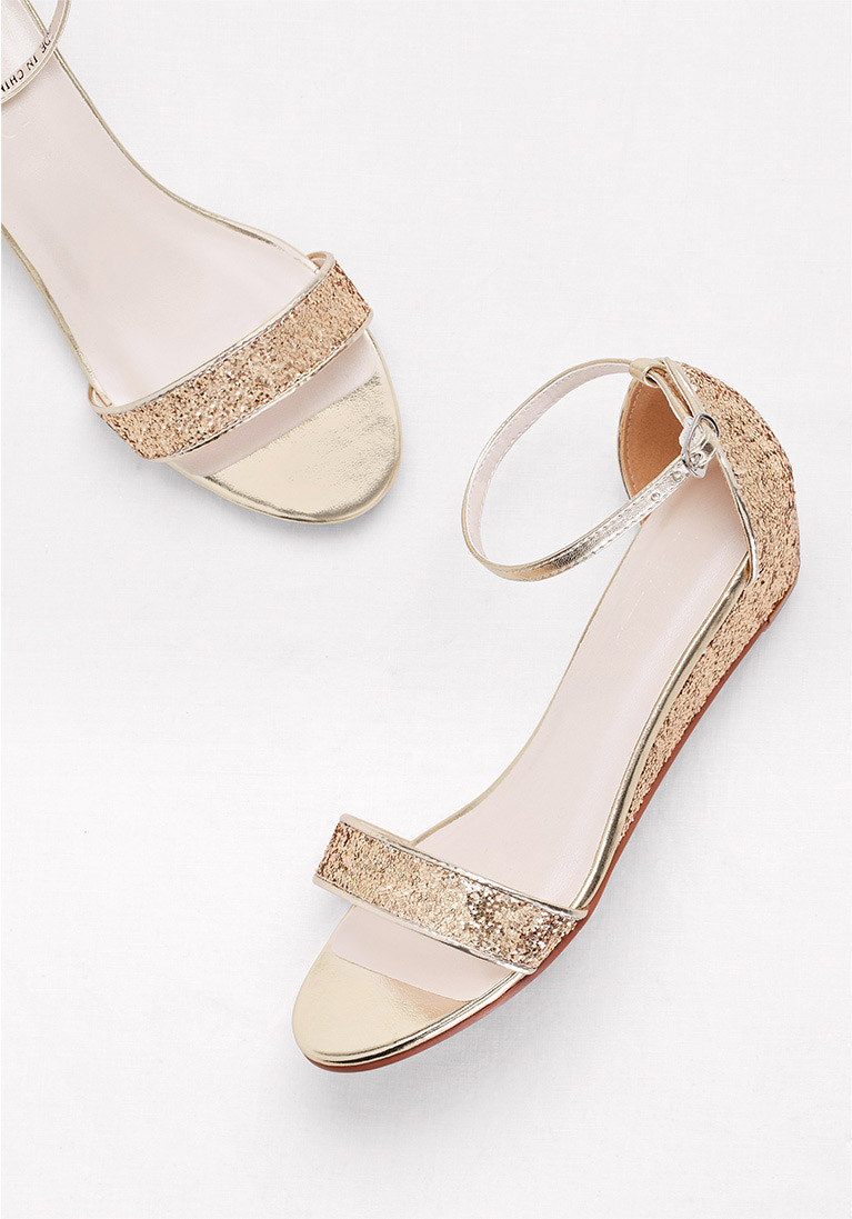 gold low-wedge sandals