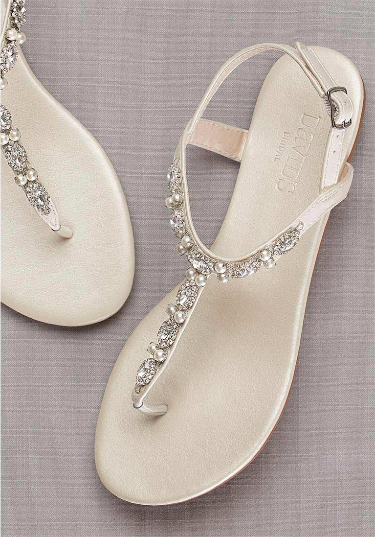t-strap embellished sandals