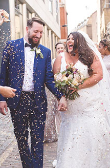Callie & Dan's Industrial Wedding | Celebratory send off with confetti