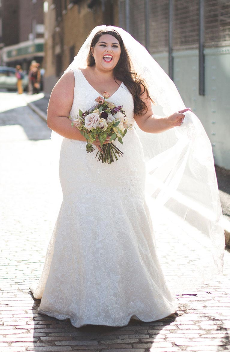 Relaxed industrial summer wedding in london real wedding photos plus size wedding dresses davids bridal ombrellifo Images