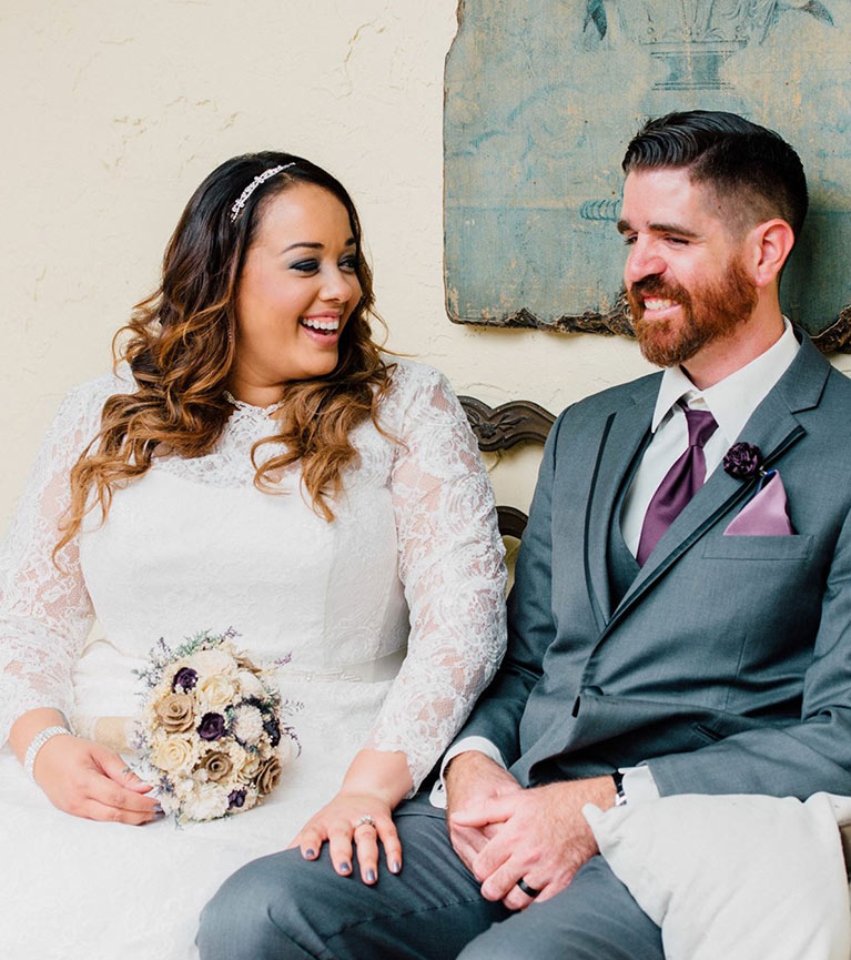 Scenic Wedding in Tennessee | Newlyweds smiling at eachother