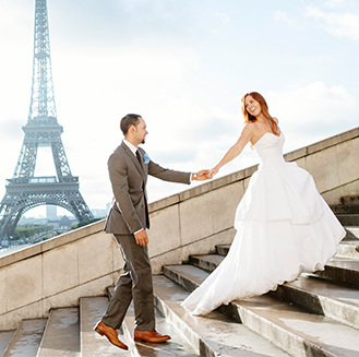 Romantic Wedding in Paris | Newlyweds walking up the stairs holding hands