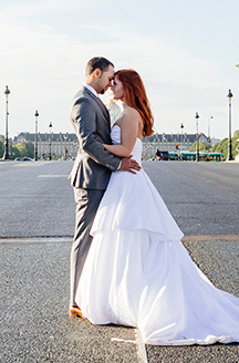 Romantic Wedding in Paris | Newlyweds gazing into eachothers eyes