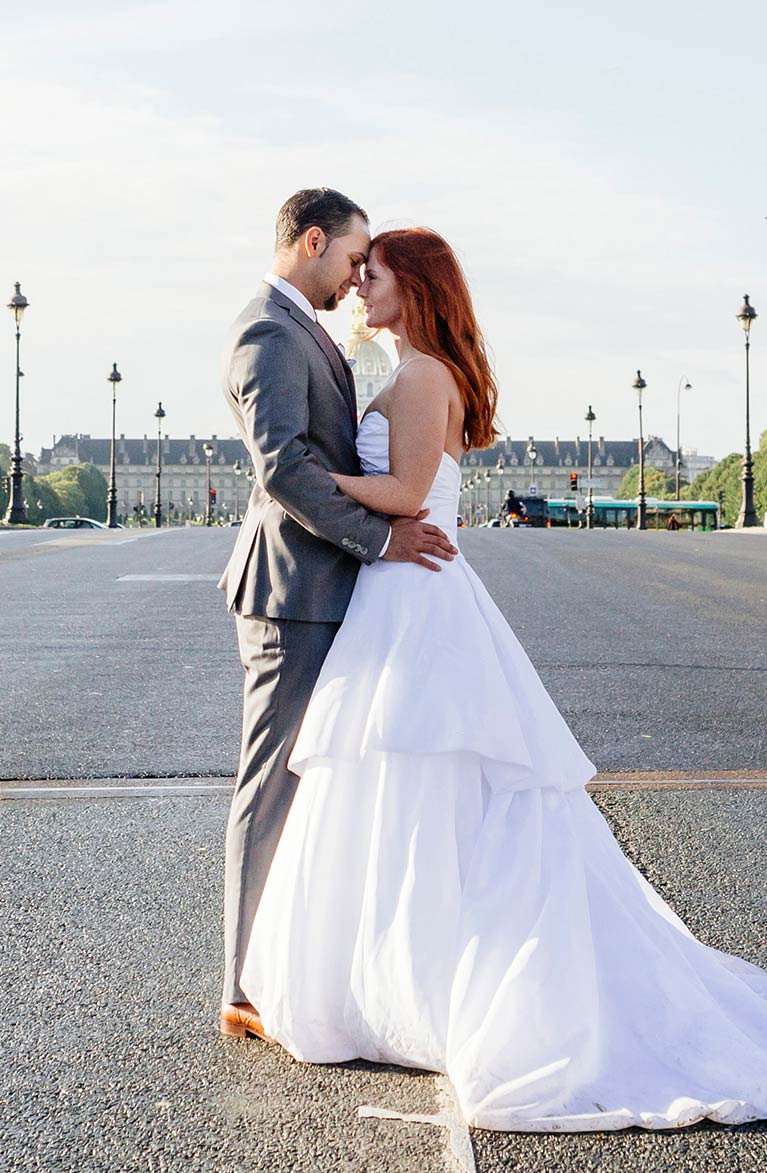 Romantic Wedding in Paris | Newlyweds gazing into easchothers eyes