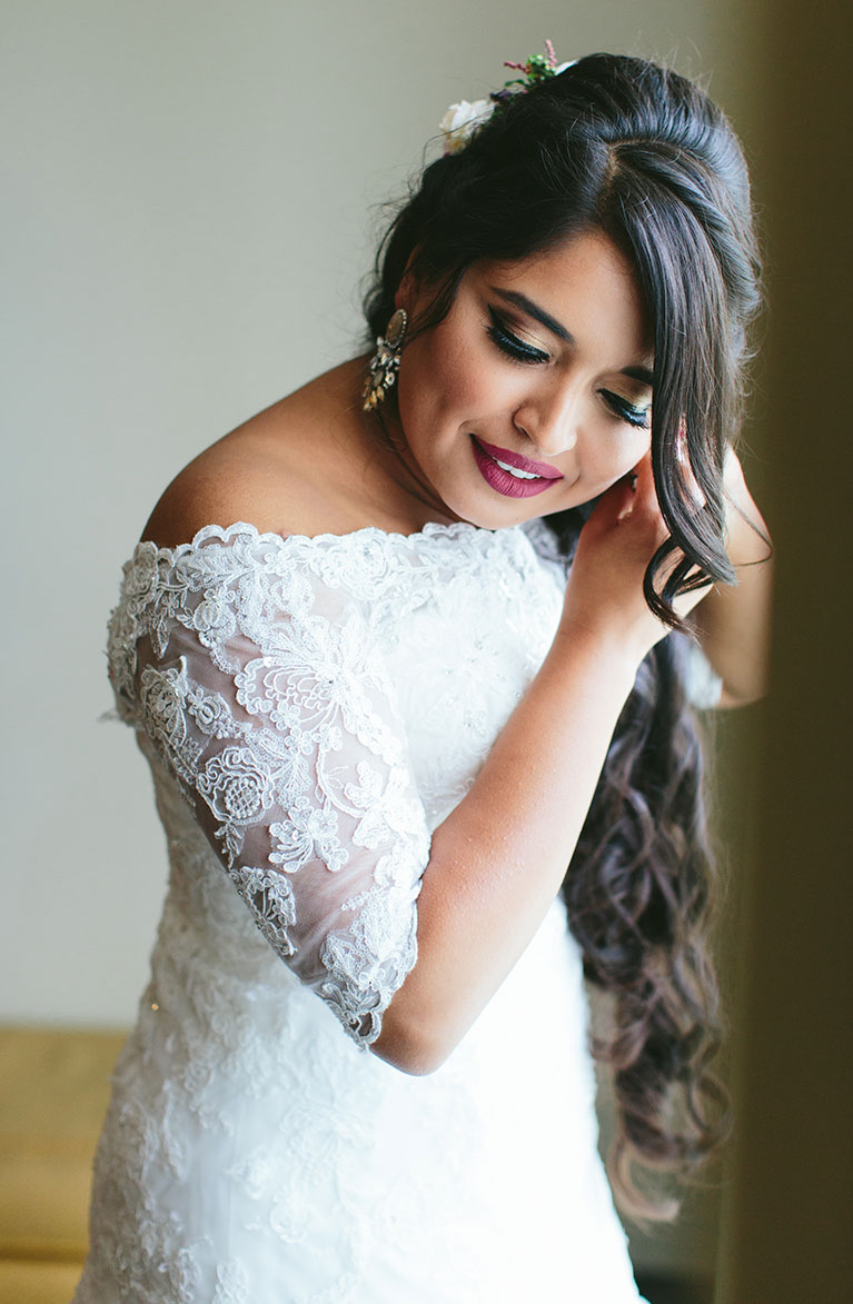 Romantic Fall Wedding | Bride wearing white gown