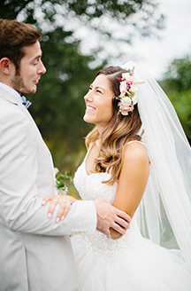 Rustic Summer Wedding | Newlyweds gazign into eachothers eyes